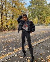 jacket,black jacket,bomber jacket,black boots,t-shirt