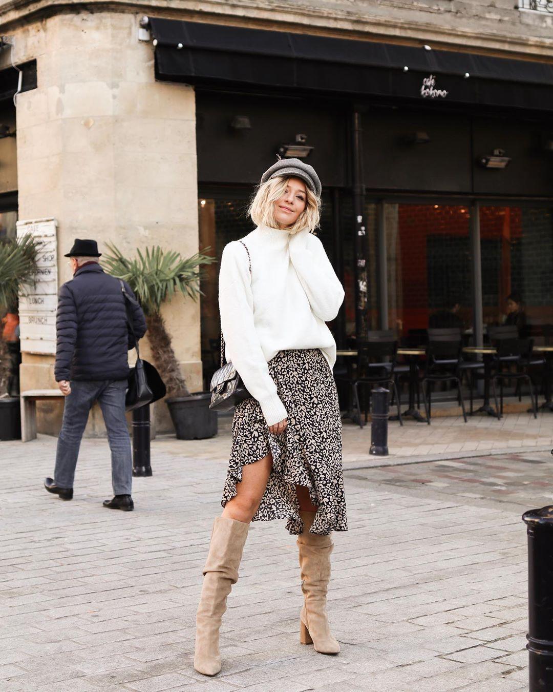 skirt midi skirt asymmetrical skirt knee high boots suede boots sweatshirt black bag beret