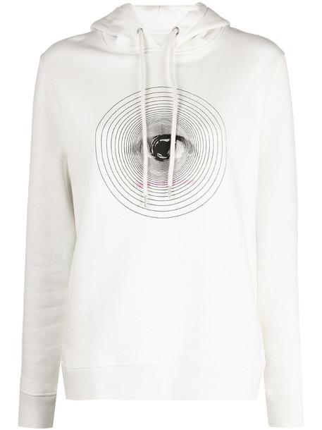 Paco Rabanne graphic-print cotton hoodie in neutrals