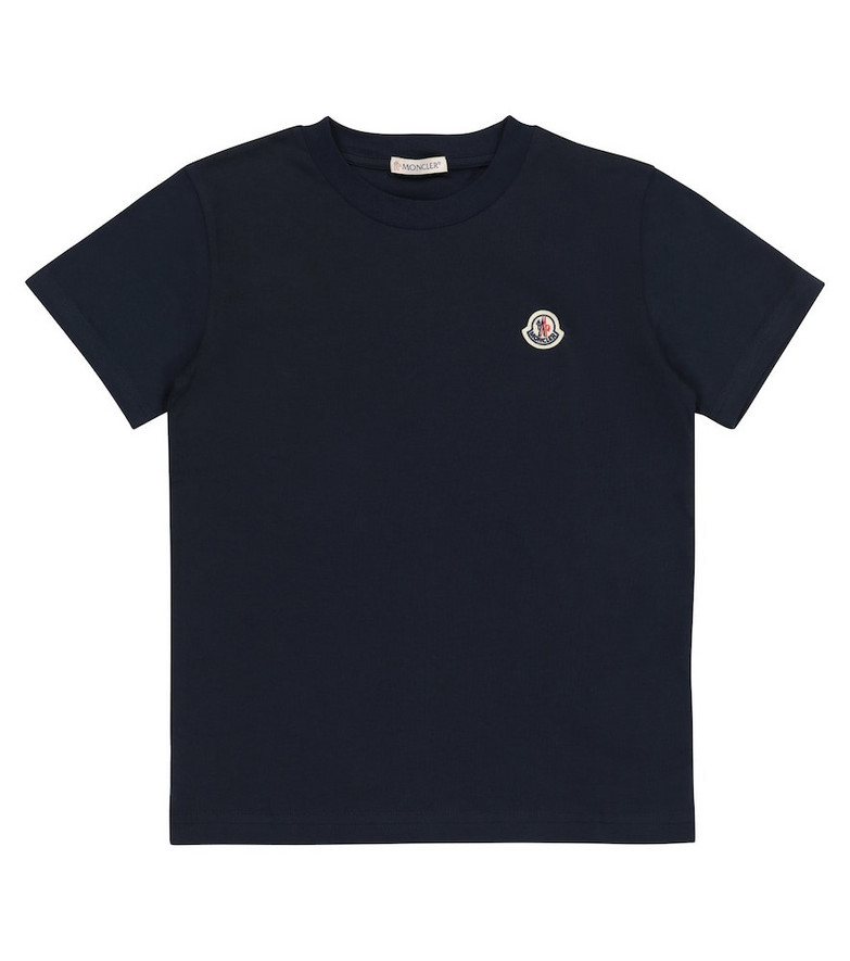 Moncler Enfant Cotton jersey T-shirt in blue