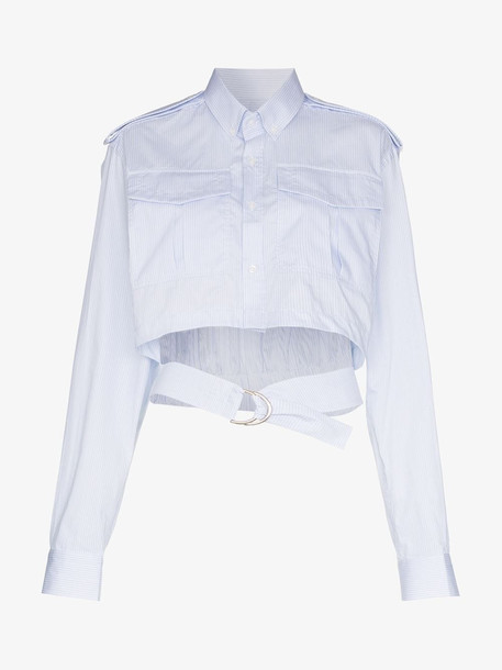 Situationist Belted Cotton Shirt in blue