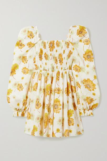 The Vampire's Wife - Mcloughland Smocked Floral-print Cotton Mini Dress - Ecru