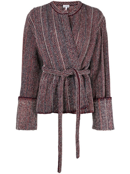 LOEWE pleated-knit belted jacket in red