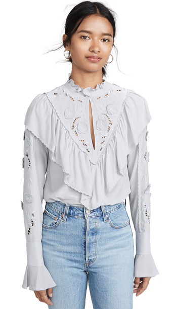 See by Chloe Ruffle Blouse in blue