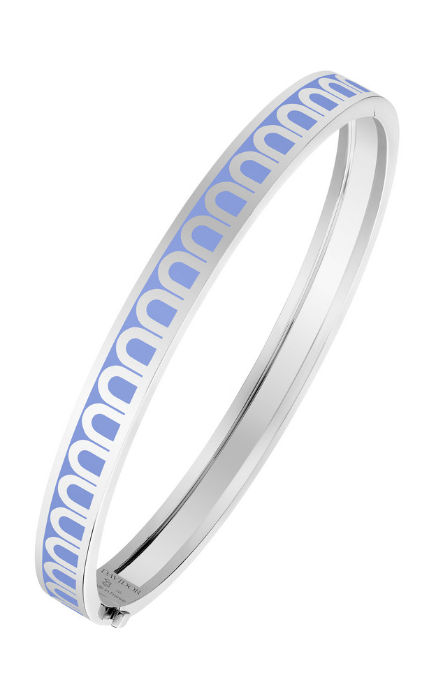 DAVIDOR L'Arc 18K White Gold and Lacquered Ceramic Bangle in blue