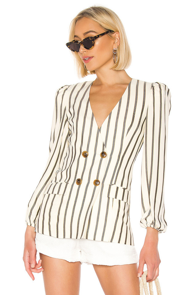 House of Harlow 1960 X REVOLVE Milan Jacket in ivory