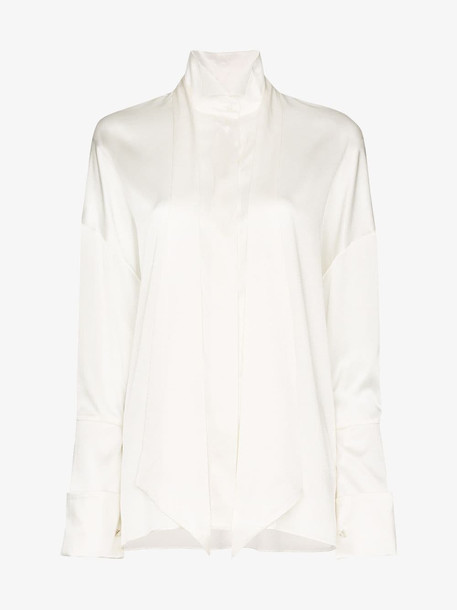 Alexandre Vauthier Tie Neck Exaggerated Cuff Shirt in white