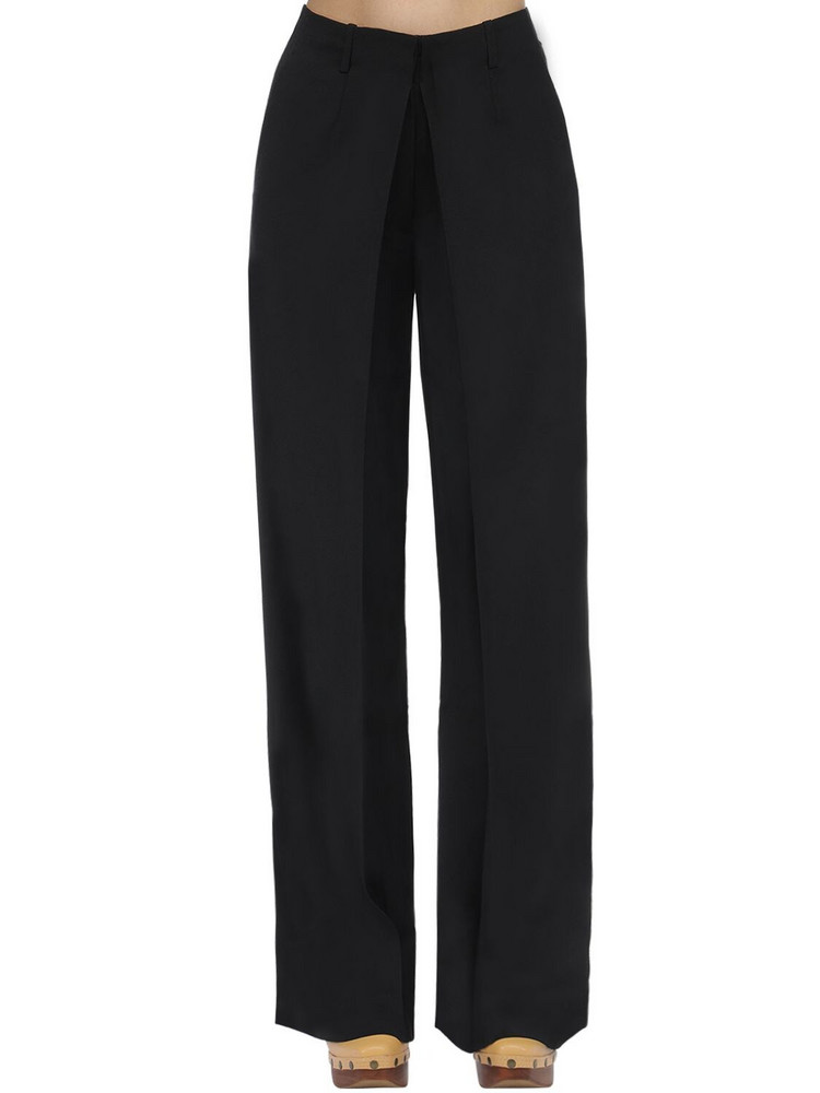 AALTO Front Pleat Tailored Wide Leg Pants in black