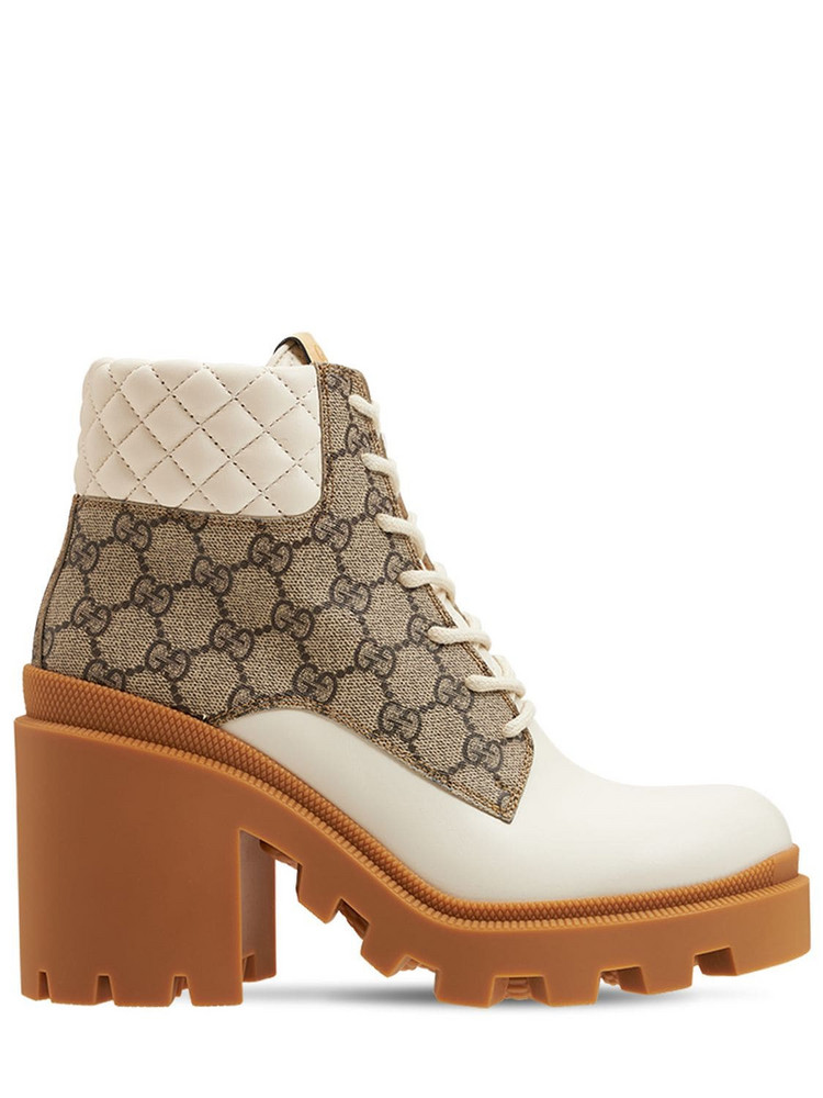 GUCCI 70mm Trip Leather & Canvas Boots in white / beige