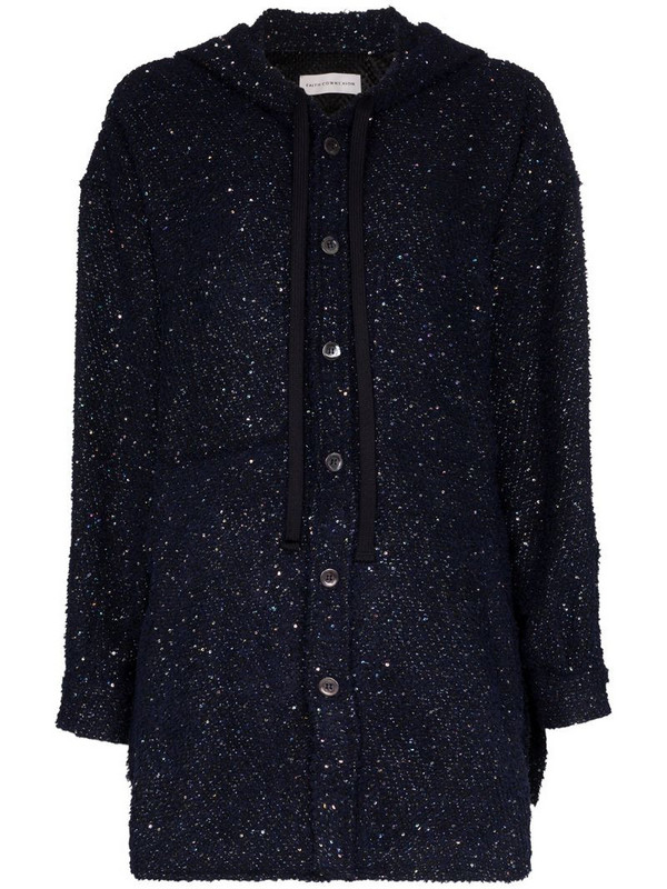 Faith Connexion hooded button-up sequin jacket in blue