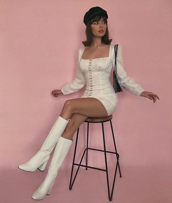 dress white dress long sleeves short dress vintage classy chic