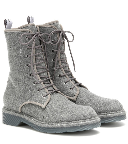 Max Mara Baker leather-trimmed ankle boots in grey