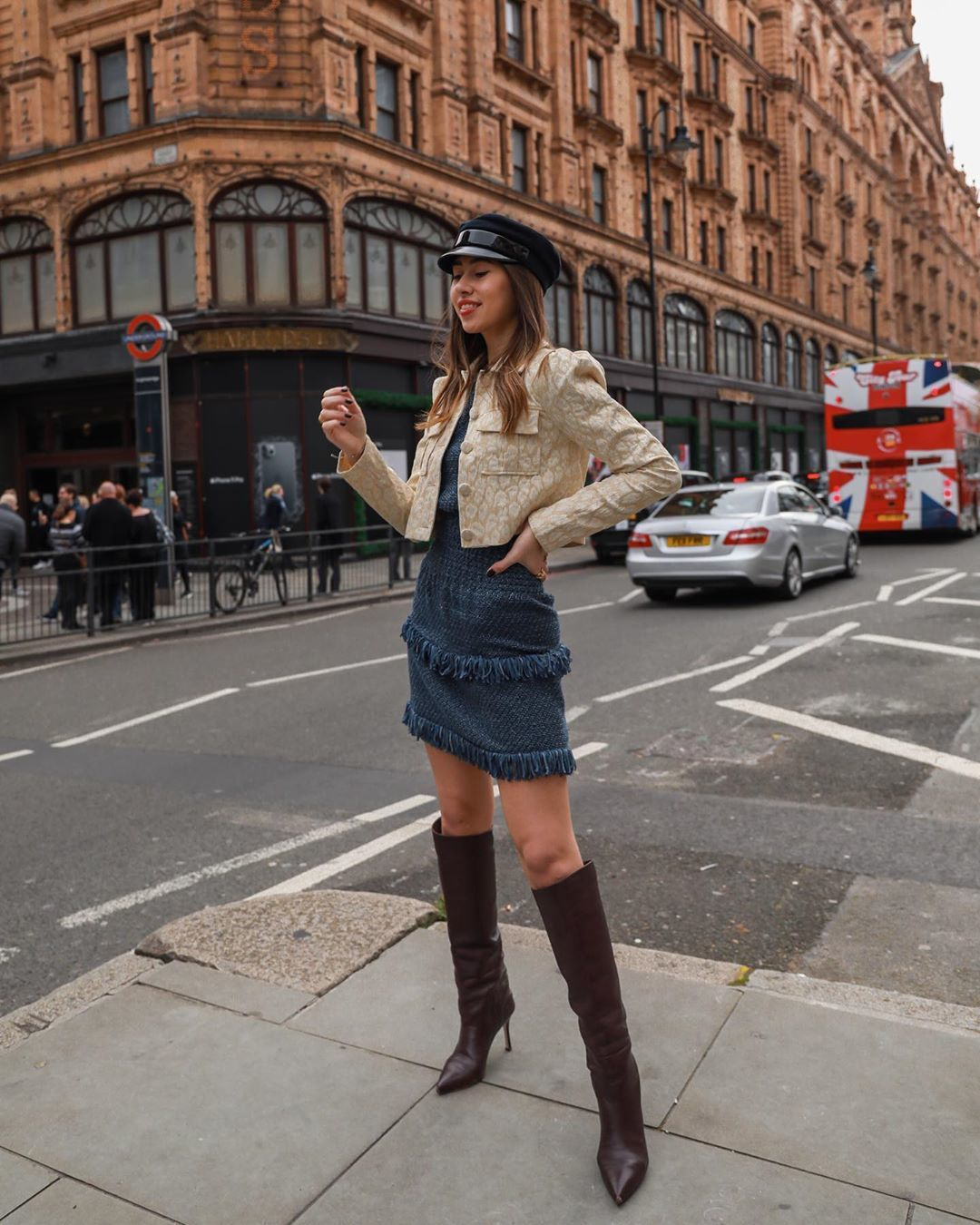 dress mini dress knee high boots cropped jacket beret
