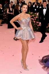 shoes,bustier dress,mini dress,metallic,silver,nina dobrev,pumps,met gala,metgala,celebrity,red carpet dress