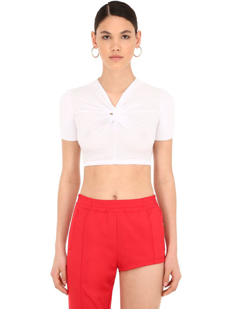 PUSHBUTTON Knotted Stretch Jersey Crop Top in white