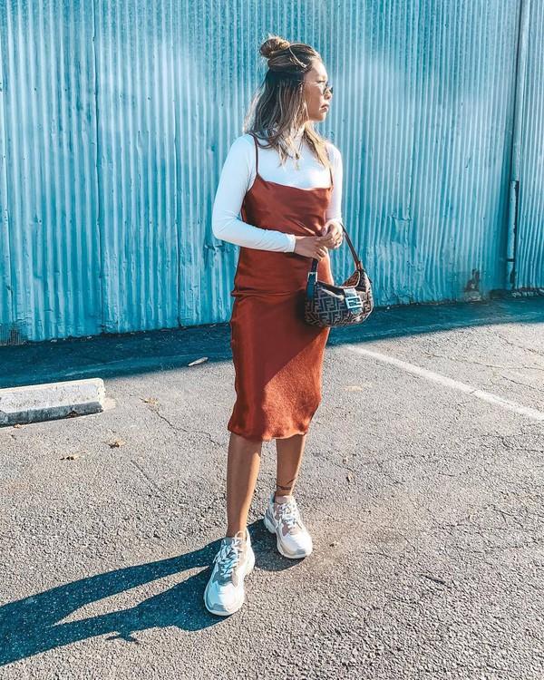 dress midi dress slip dress sneakers fendi shoulder bag white turtleneck top