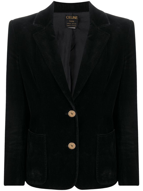 Céline Pre-Owned pre-owned velvet effect buttoned jacket in black