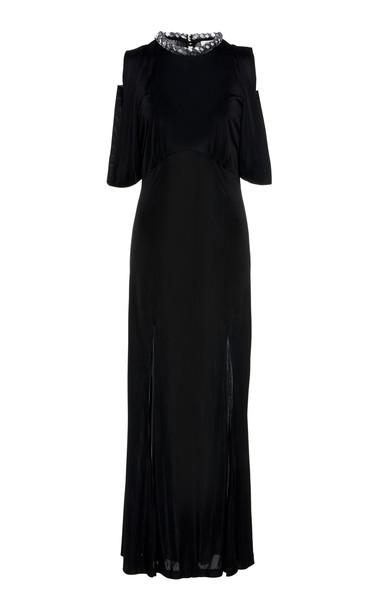 Attico Fluid Jersey Slip Dress Size: 40 in black