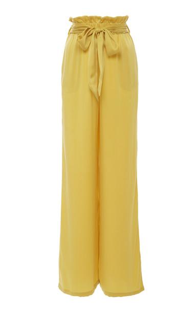 Asceno Paperbag Wide-Leg Silk-Satin Pajama Pant in yellow