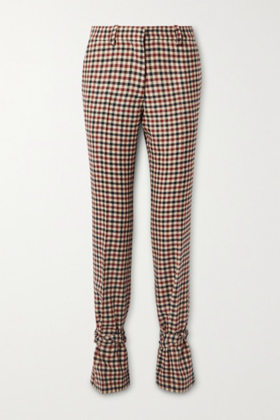 JW Anderson - Bow-embellished Checked Wool Straight-leg Pants - Red