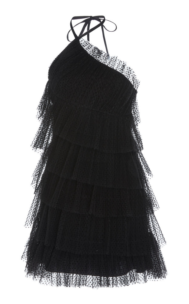 Alexis Raina Tiered Tulle Mini Dress in black