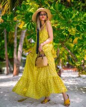 dress,yellow dress,maxi dress,sleeveless dress,slide shoes,woven bag,handbag,sun hat