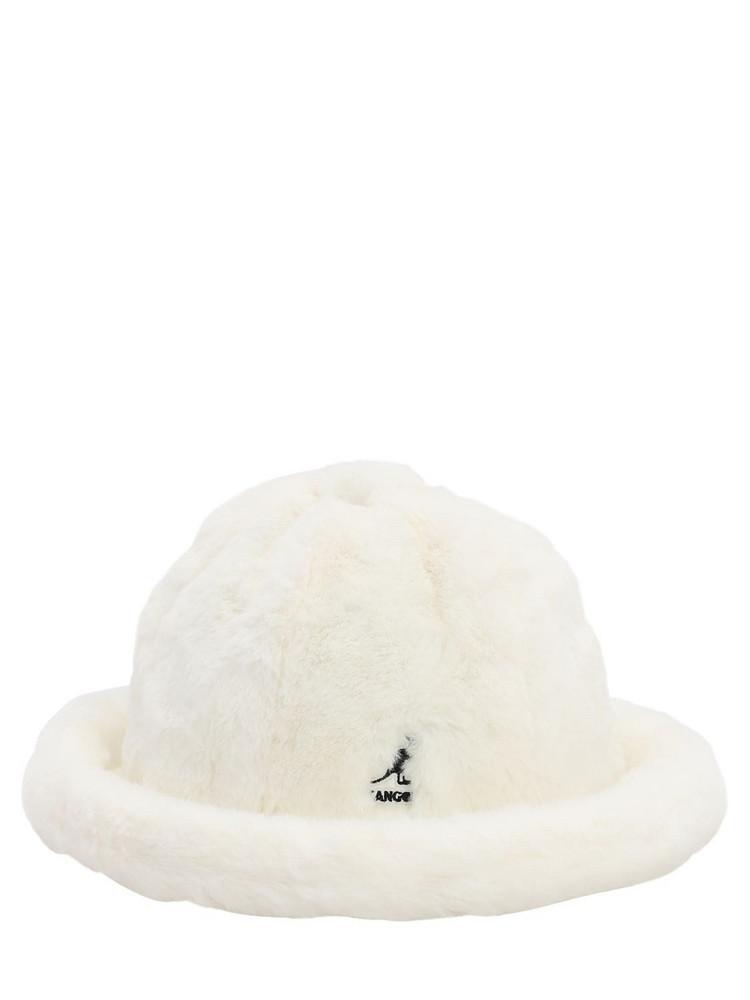 KANGOL Leopard Print Faux Fur Hat in white