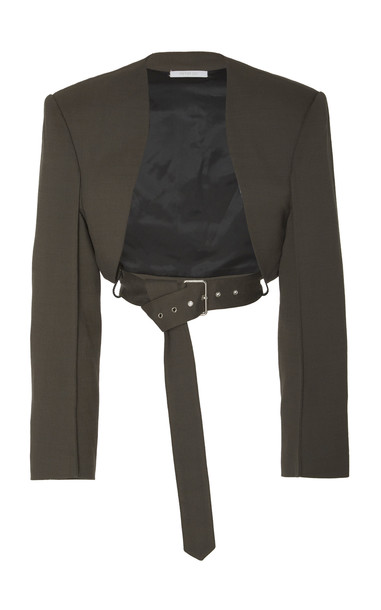 Peter Do Bolero Belted Cropped Crepe Jacket Size: 34 in grey