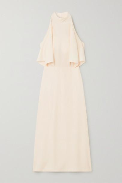 Prada - Halterneck Draped Satin Midi Dress - Ivory