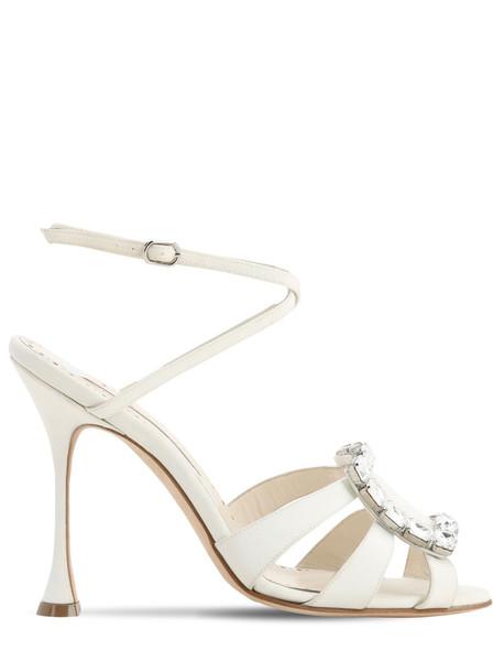MANOLO BLAHNIK 105mm Ticuna Crepe De Chine Sandals in white