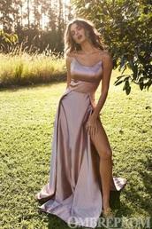 dress,rose gold,gown,maxi dress,prom dress,long dress,long prom dress,silk,silk dress