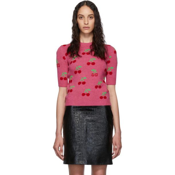 Gucci Pink Cherries Short Sleeve Sweater