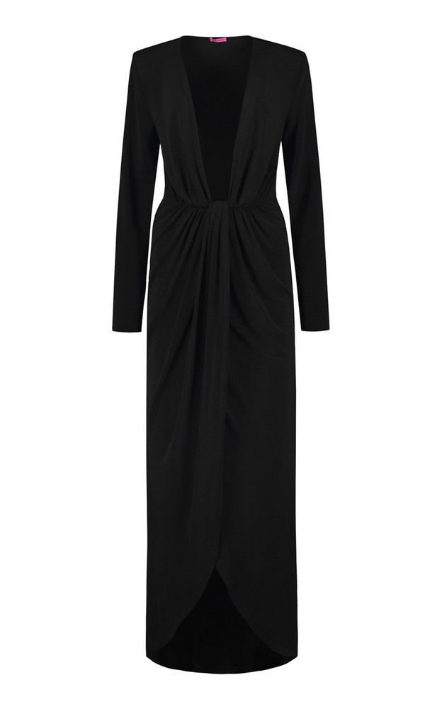 Gauge81 Krasnodar Draped Crepe Maxi Dress in black