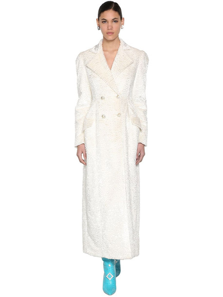 GIUSEPPE DI MORABITO Faux Astrakhan Coat W/crystal Buttons in white