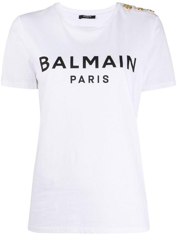 Balmain logo-print button-detail T-shirt in white