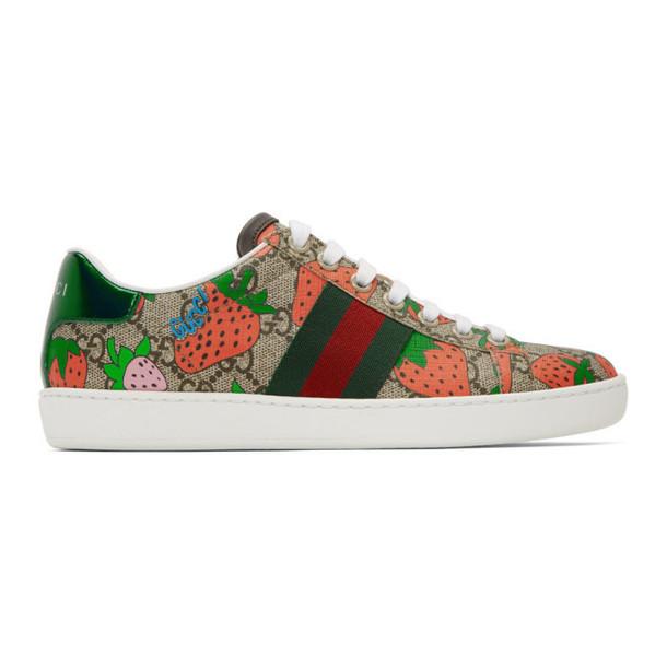 Gucci Beige GG Supreme Strawberry Ace Sneakers