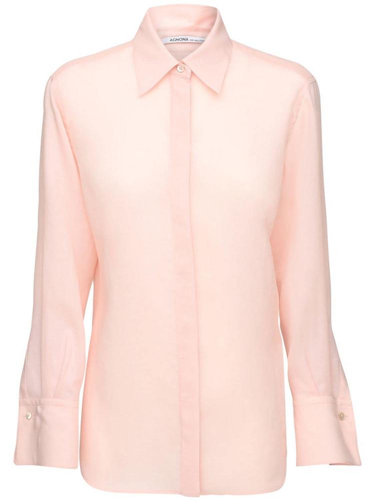 AGNONA Mohair Blend Straight Shirt in pink