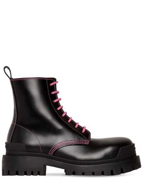 BALENCIAGA 50mm Strike Leather Combat Boots in black