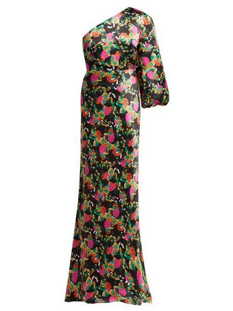 Saloni - Lily One Shoulder Floral Print Silk Satin Dress - Womens - Black Pink