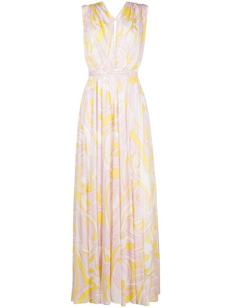 Emilio Pucci abstract-print maxi dress in white