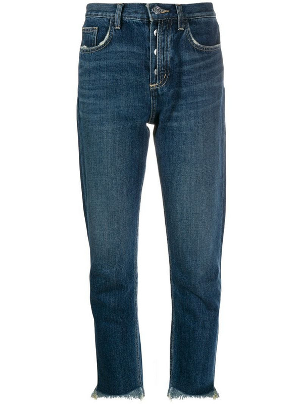 Current/Elliott straight-leg cropped jeans in blue