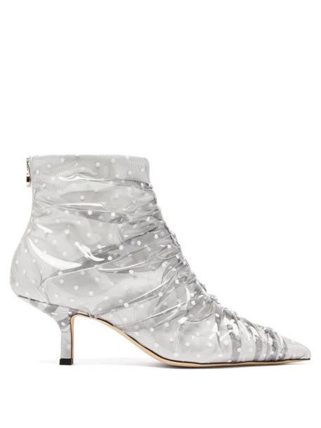 Midnight 00 - Antoinette Polka Dot Pvc & Leather Boots - Womens - White Multi