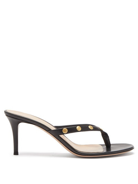 Gianvito Rossi - Studded 70 Leather Sandals - Womens - Black Gold
