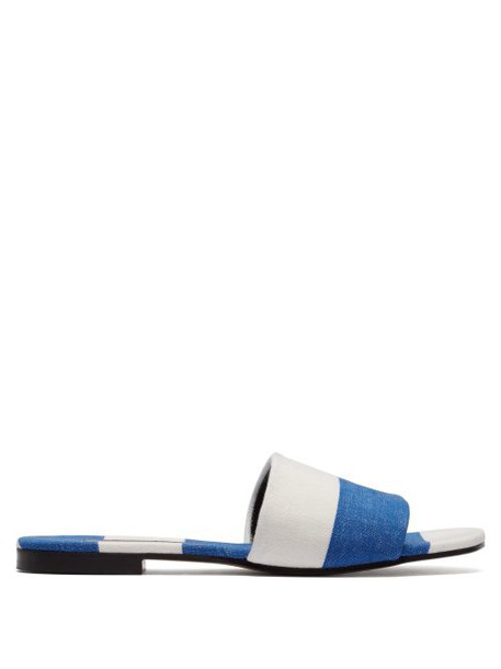 Avec Modération - Monaco Single Strap Slides - Womens - Navy Stripe