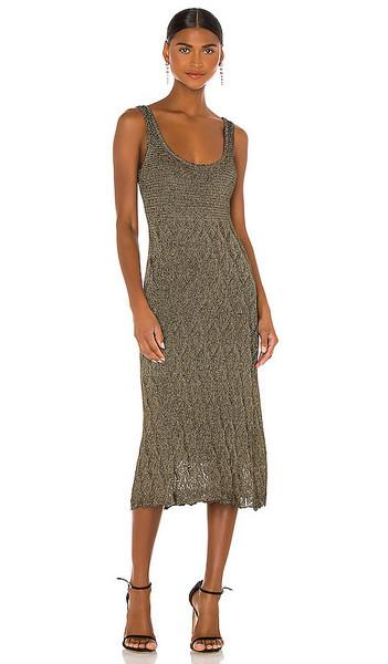 MISA Los Angeles Salma Knit Dress in Metallic,Black in gold