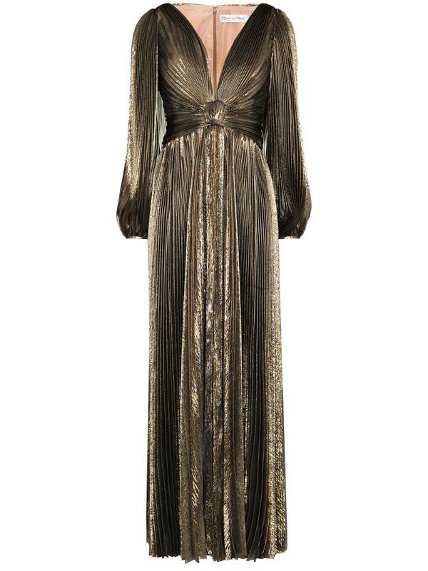 Oscar de la Renta metallic pleated V-neck gown in gold