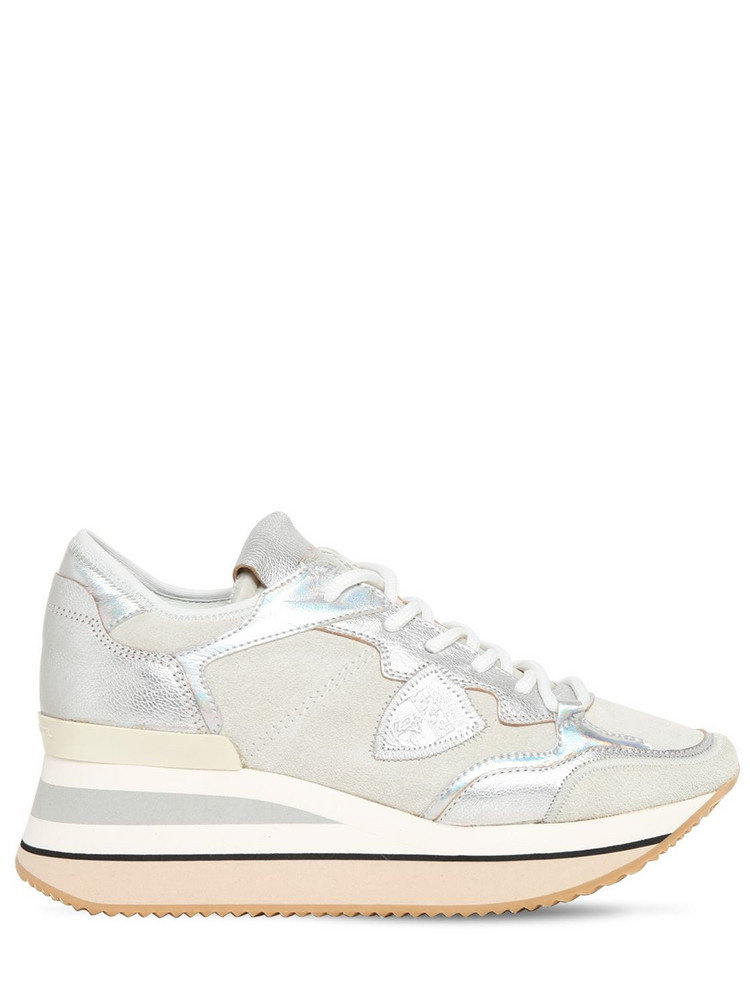 PHILIPPE MODEL Triomphe Daim Sneakers in silver