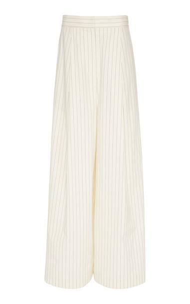 Brunello Cucinelli Pinstripe Pleated Stretch-Cotton Wide-Leg Pants Si in black