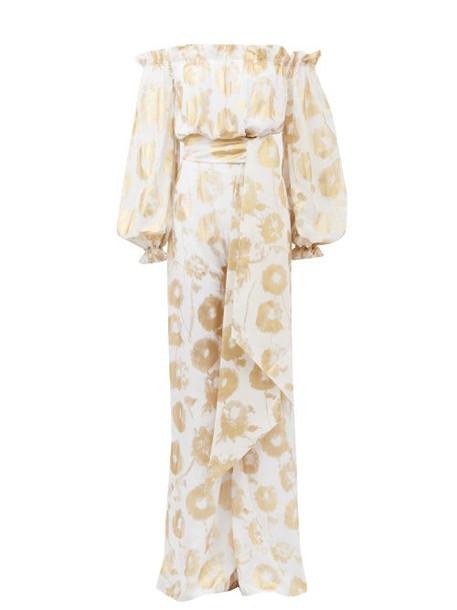 Halpern - Metallic-print Off-the-shoulder Cotton Jumpsuit - Womens - White Gold