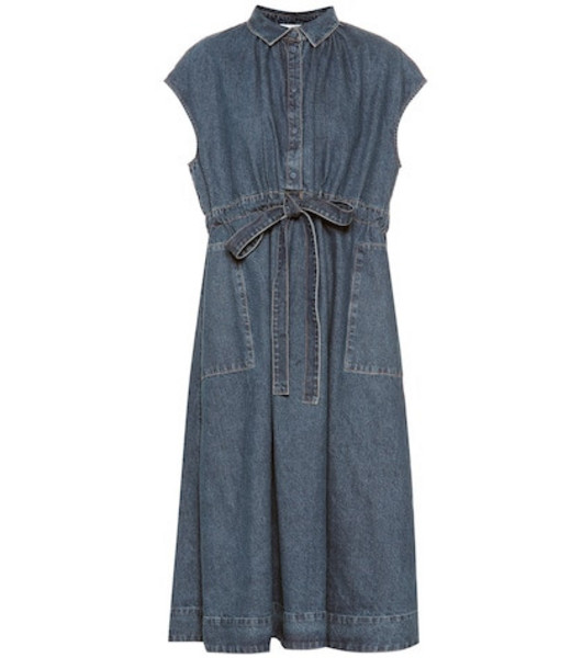 Co Drawstring-waist denim dress in blue